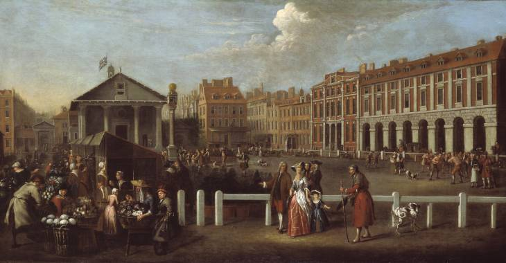 Covent Garden Piazza painted in 1737 by Balthazar Nebot