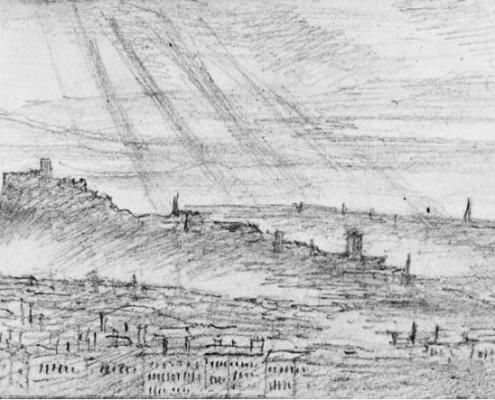 Edinburgh from Salisbury Crags, 26 July 1829. Sketch by Mendelssohn
