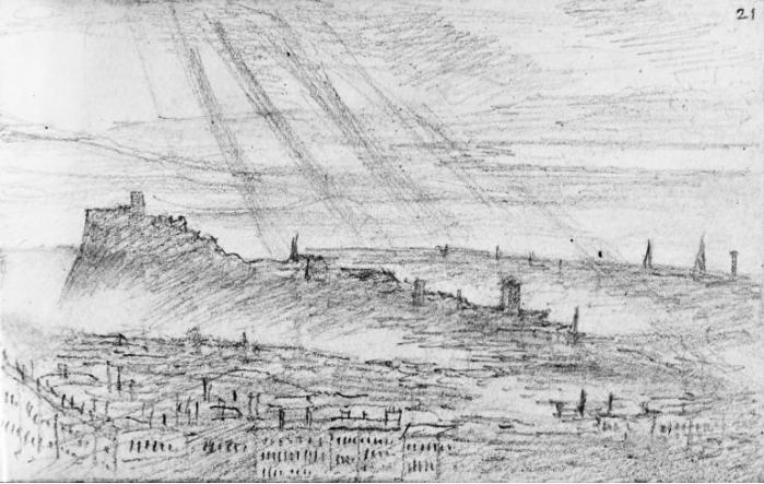 Edinburgh from Salisbury Crags, 26 July 1829. Sketch by Mendelssohn