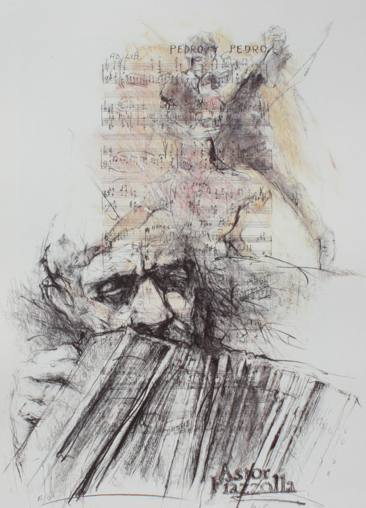 Astor Piazzolla Lithograph by Hetty Krist