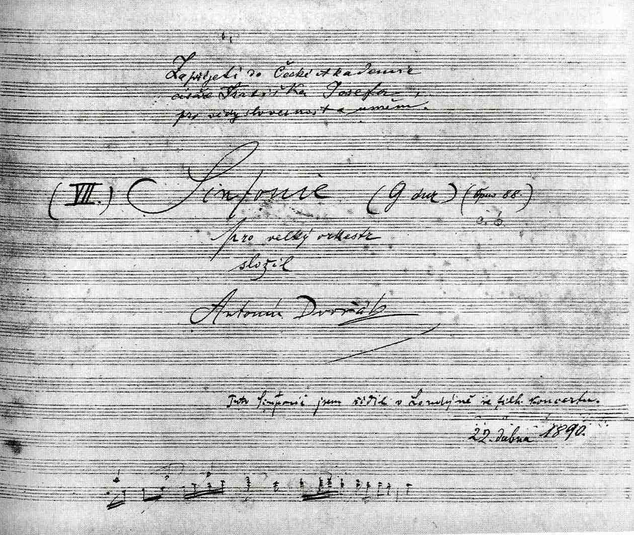 Manuscript of 8th symphony